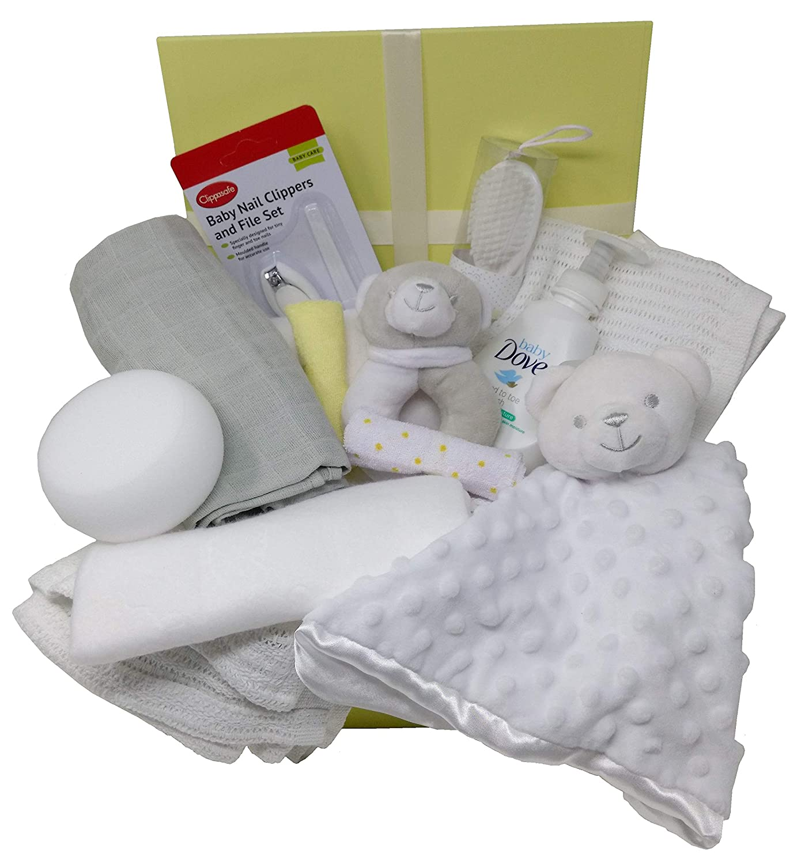 Hamper Rattle /& Baby Essentials Teddy Comforter Blankets Baby Blue Luxury Baby Boy Gift Box