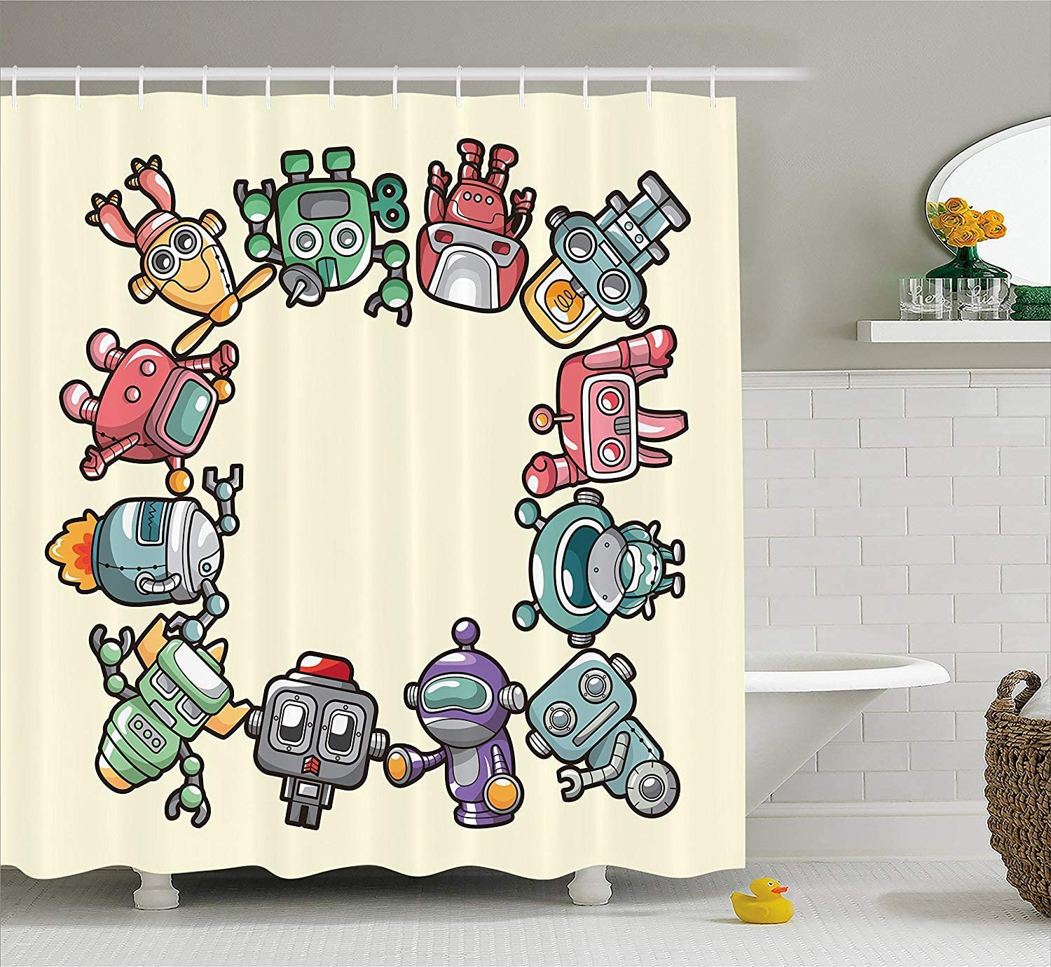 XIAOYI Kids Party Shower Curtain, Friendly Robot Characters Circle Futuristic Sci Fi Machines Cute Children Toys, Fabric Bathroom Decor Set with Hooks, 60W X 72L Inche Extra Wide: Amazon.es: Hogar