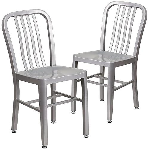 Flash Furniture 2 Pack Silver Metal Indoor-Outdoor Chair