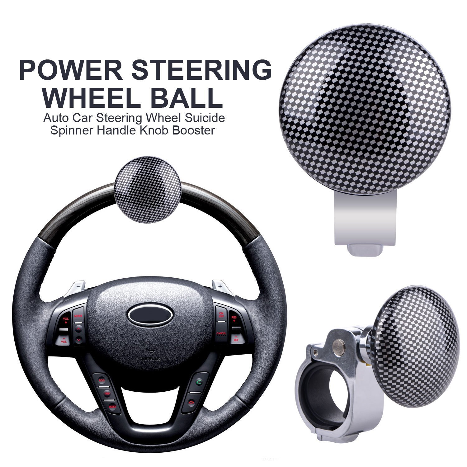 Controllers 1x Hickory Car Auto Steering Wheel Suicide Spinner Handle Knob Booster Metal 100% High Quality Materials