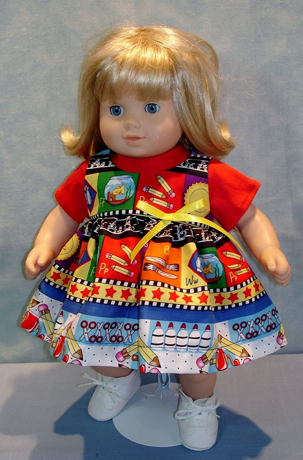 Back to School Jumper and T shirt made by Jane Ellen to fit 15 inch baby dolls 15 Inch Doll Clothes