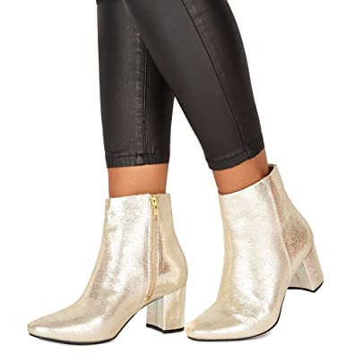 Faith Womens Gold Leather 'Bold' Mid Block Heel Ankle Boots 4