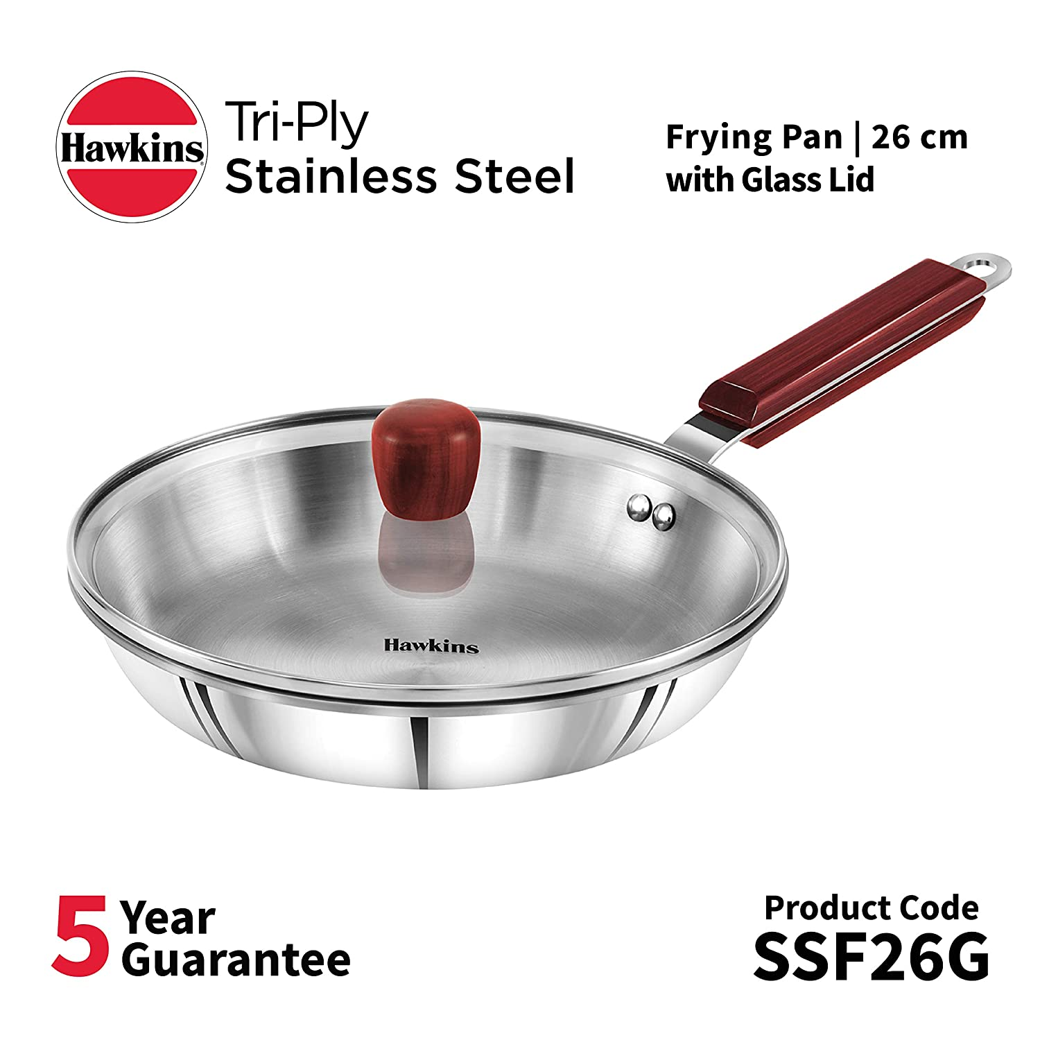 Hawkins Triple 3 mm Stainless Steel Frying Pan 26 cm with Lid