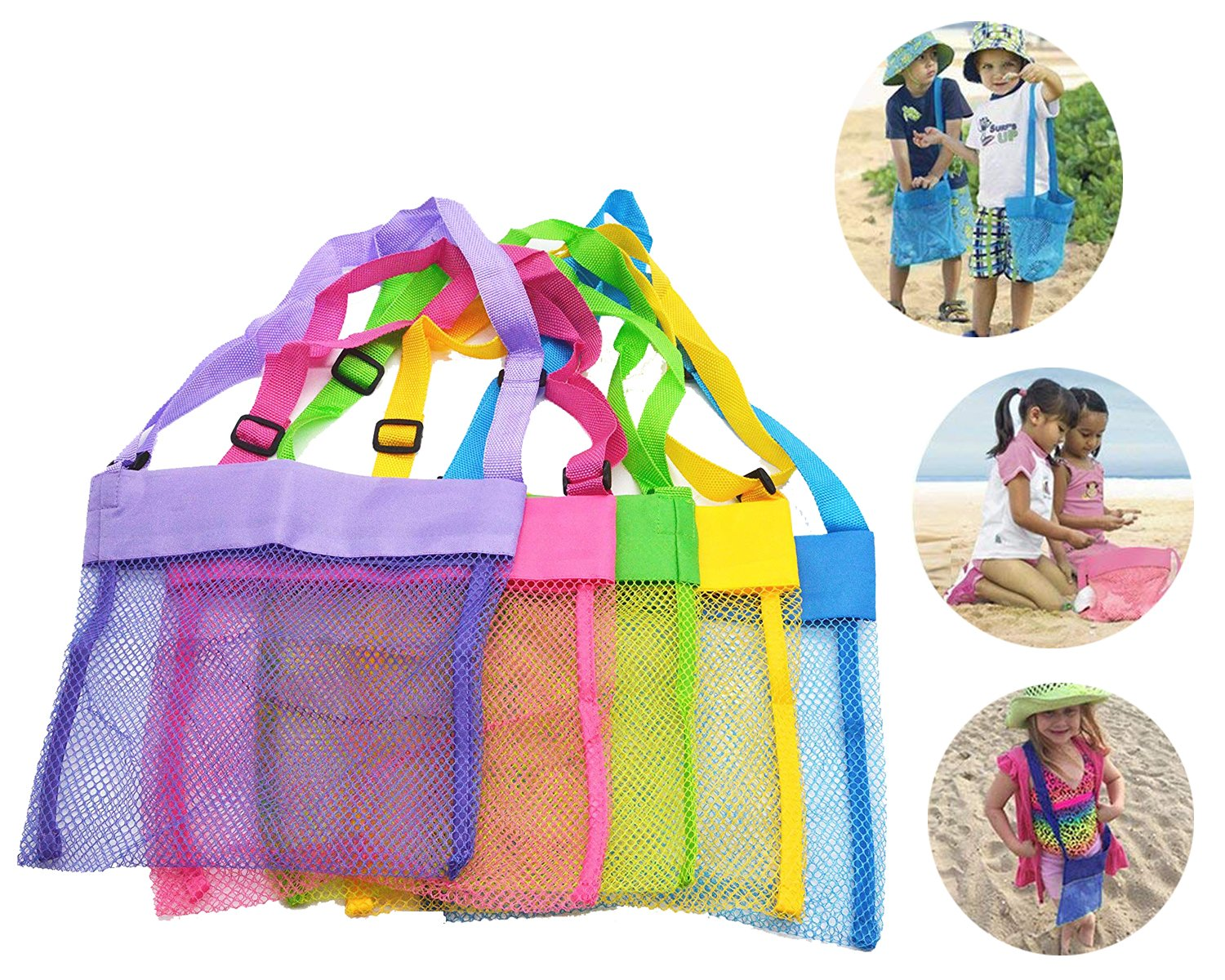 """Bylove 5 Pieces Colorful Mesh Beach Bags Breathable Sea Shell Bags Toy Storage Bags with Adjustable Carrying Straps (5 pieces, 9.8"""" x 9.4"""") by Bylove (Image #1)"""