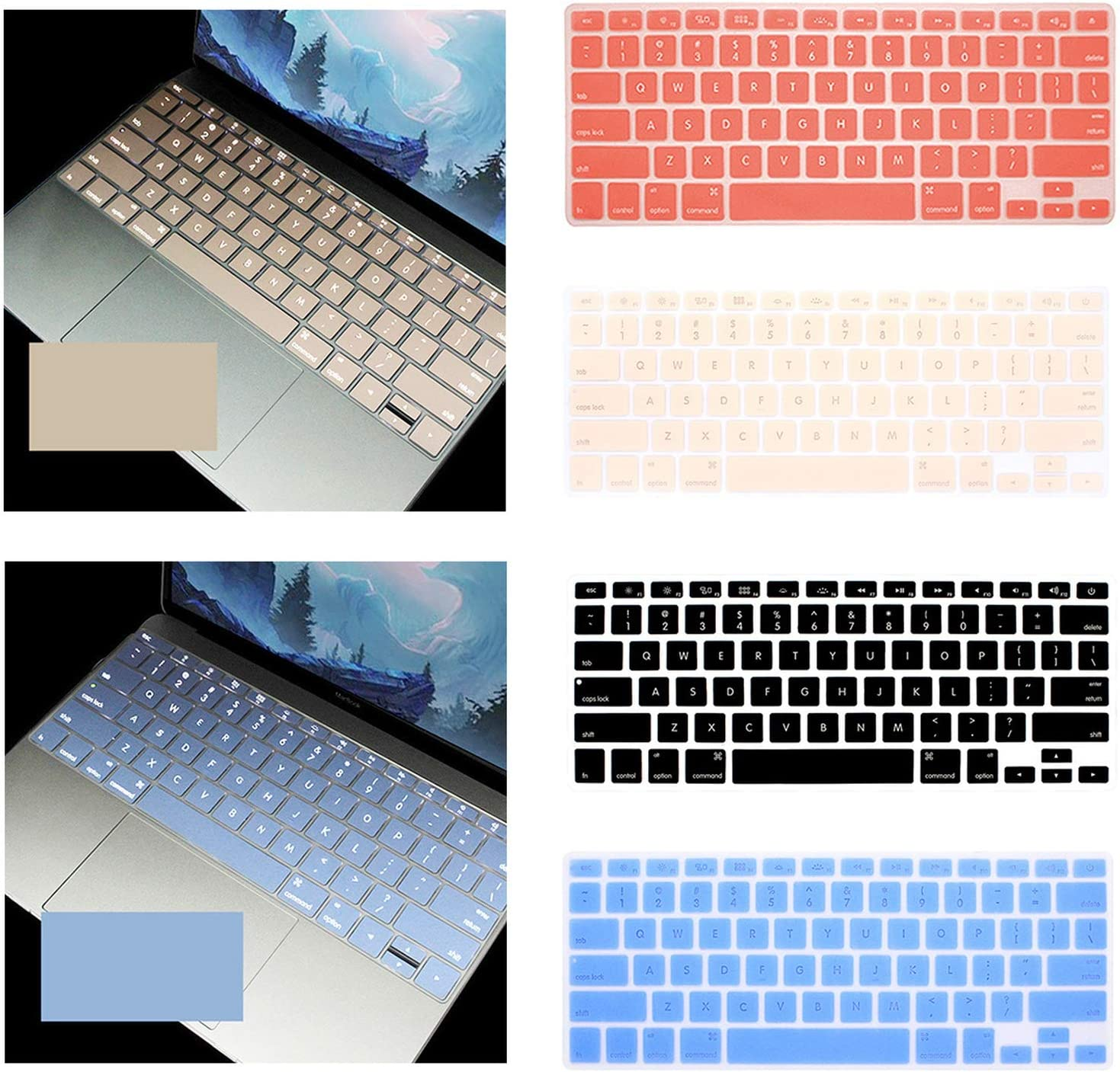 Colorful Silicone Keyboard Cover Protector Skin for MacBook Air 11 Soft Keyboard Stickers-Black