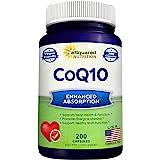CoQ10 (400mg Max Strength, 200 Capsules) - High Absorption Vegan Coenzyme Q10 Powder - Ubiquinone Supplement Pills, Extra Ant