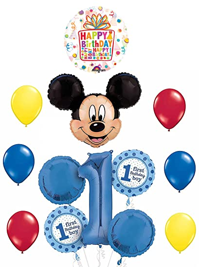 Image Unavailable Not Available For Color Disney Mickey Mouse Clubhouse 1st Happy Birthday Present Balloon Supply Decoration Kit