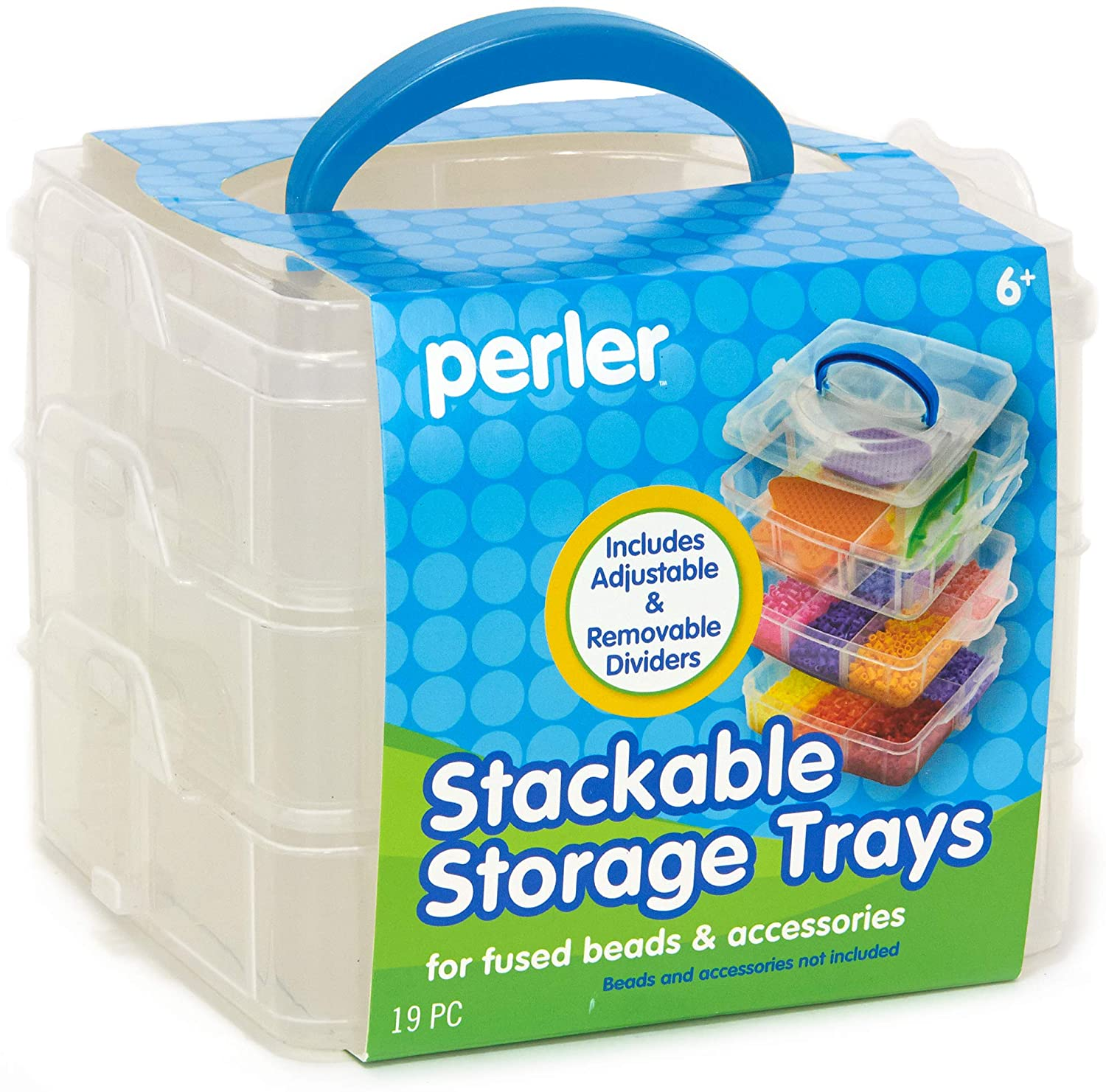 Perler Bead Large Organizer Stackable Storage Container Bead Trays, 3pc