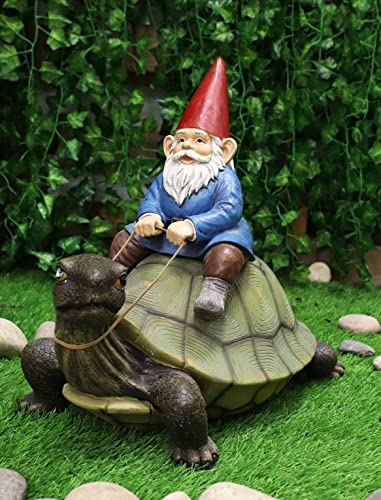 Ebros Large 17.25″ Long Whimsical Travelling Mr Gnome On Giant Turtle Ride Decorative Statue Magical Journey Gnomes Tortoises Turtles Figurine