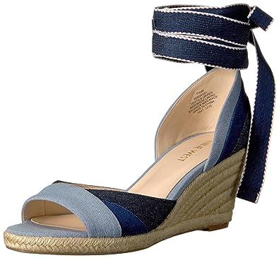 Nine West Women's Jaxel Denim Wedge Sandal, Navy Multi, ...