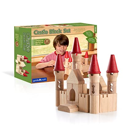 Guidecraft Tabletop Building Blocks   Castle Themed Towers And Blocks  Educational Construction Set, 40 Pieces