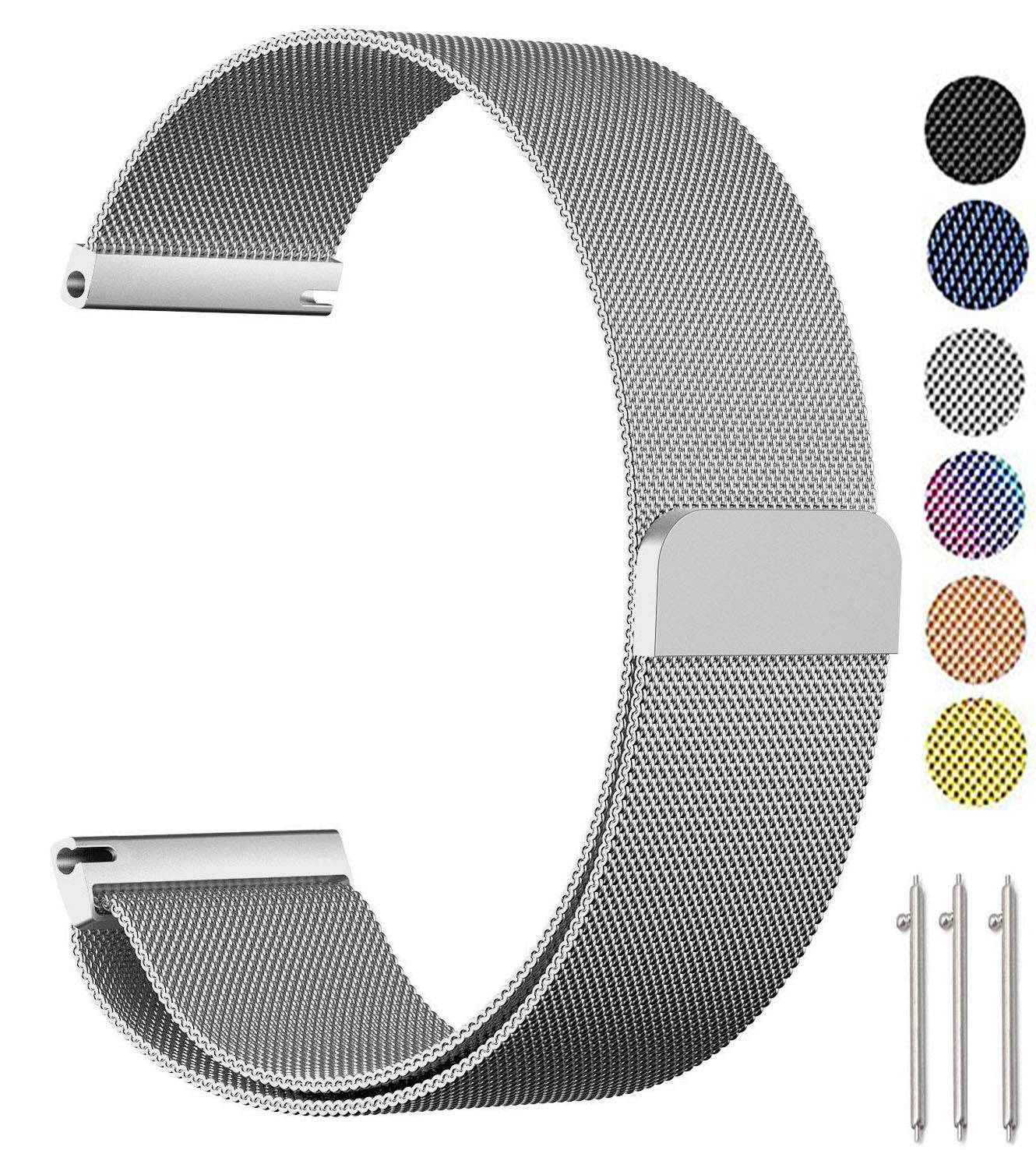Baoking for Samsung Gear Sport/Galaxy Watch 42mm Band, 20mm Stainless Steel Milanese Loop Replacement Strap with Magnet Lock for Gear Sport /S2 Classic/Galaxy Watch Active(Silver,20mm)