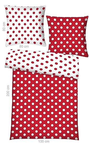 Wende Bettwäsche Garnitur Größe 135x200 Cm Mit Roten Und Weißen