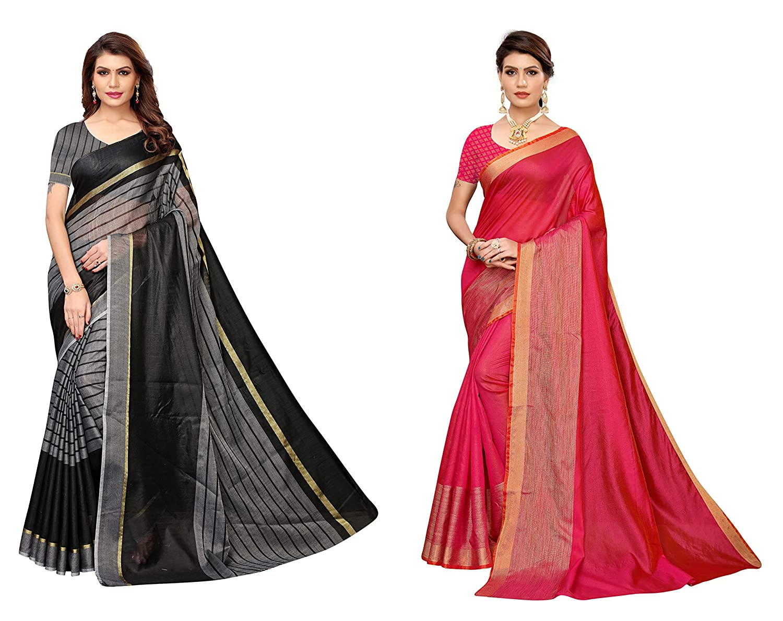 Women's Cotton Silk Saree With Unstitched Blouse Piece