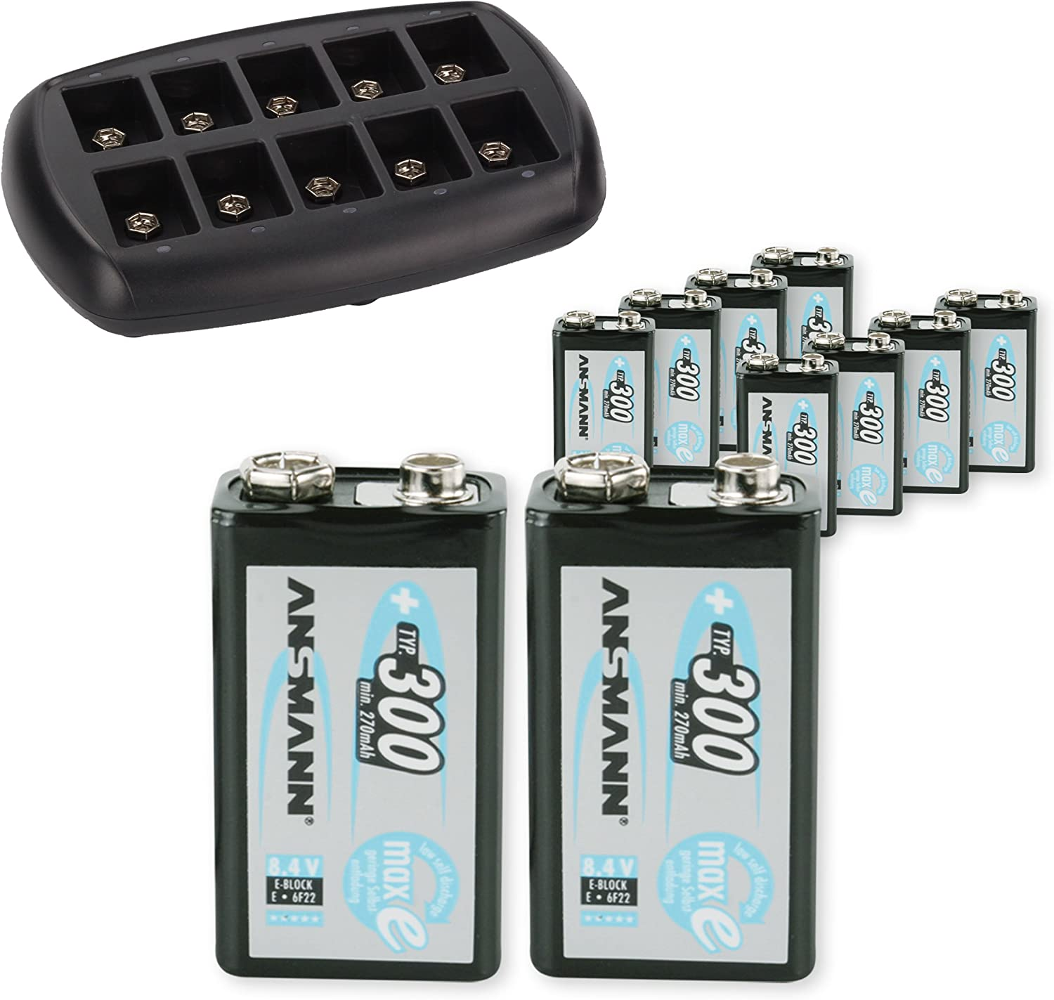 NiMH//NiCd 9 Volt Rechargeable Batteries ANSMANN 10-Bay 9V Smart Battery Charger Universal Maintenance Station for 10pcs Overcharge Protection, Trickle Charge When Full
