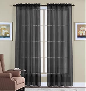 Sheer Curtains 63 sheer curtains : Amazon.com: No. 918 Tayla Crushed Sheer Voile Rod Pocket Curtain ...