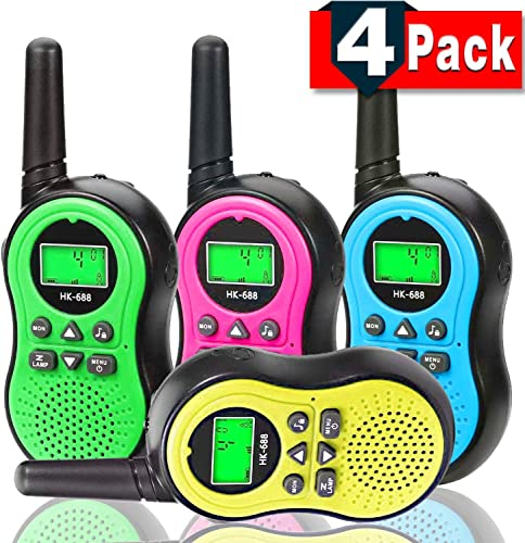4 Pack Walkie Talkie for Kids – Long Range Handheld Kids Walkie Talkies with Earpiece for Boys Girls 22 Channels Two Way Radio Toys with LCD Flashlight Outdoor Game Toddlers Birthday Gifts