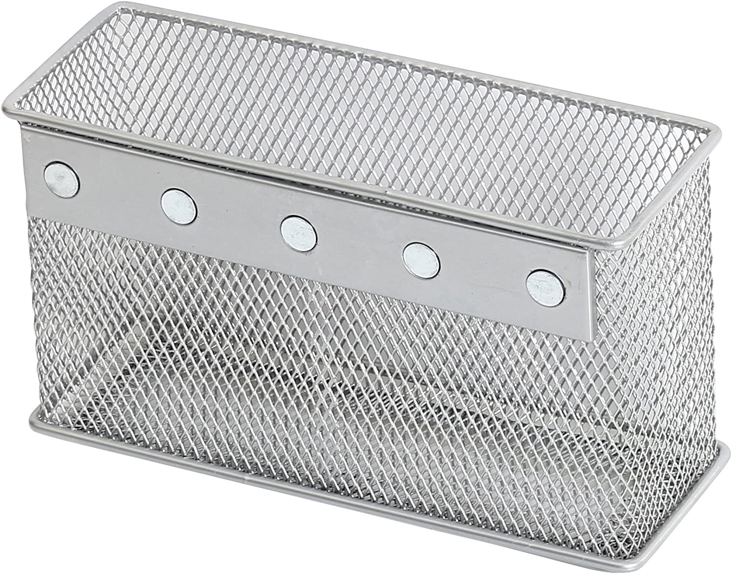 Ybmhome Wire Mesh Magnetic Storage Basket, Container, Desk Tray, Office Supply Accessory Organizer Silver for Refrigerator/Microwave Oven or Magnetic Surface in Kitchen or Office 2306 (1, Medium)