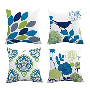 Icejazz Square Decorative Birds and Flowers Series Throw Pillow Covers Cushion Covers Geometric Leaf Pillow Cases Super Soft Pillowcase for Home Office Car Sofa Set of 4, 18x18 inches
