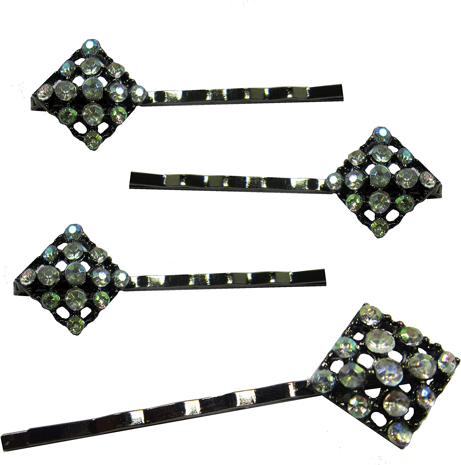 2 x Black Diamante Hair Slides Grips Kirby Grips in a butterfly design