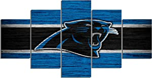 Carolina Panthers NFL Foolball Art Canvas Posters Home Decor Wall Art Framework 5 Pieces Paintings for Living Room HD Prints Sports Pictures (S,No Framed)