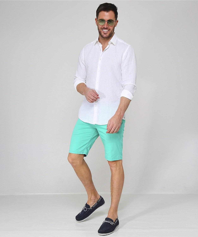 BOSS Mens Regular Fit Linen Lukas/_F Shirt White M