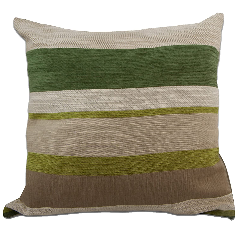 Just Contempo Chenille Striped Cushion Cover Green 17x17 inches