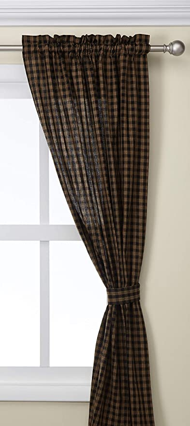 "Park Designs Black Sturbridge Lined Window Panels Curtains 72/"" x 63/"" Plaid Tan"