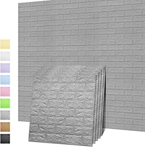 Sodeno 3D Wall Panels, 10 Pack 3D Brick Self-Adhesive Waterproof PE Foam Wallpaper for Interior Wall Tile Decor, TV Wall,Bathroom, Living Room Home Decoration- 39 Sq Ft (Sliver1)