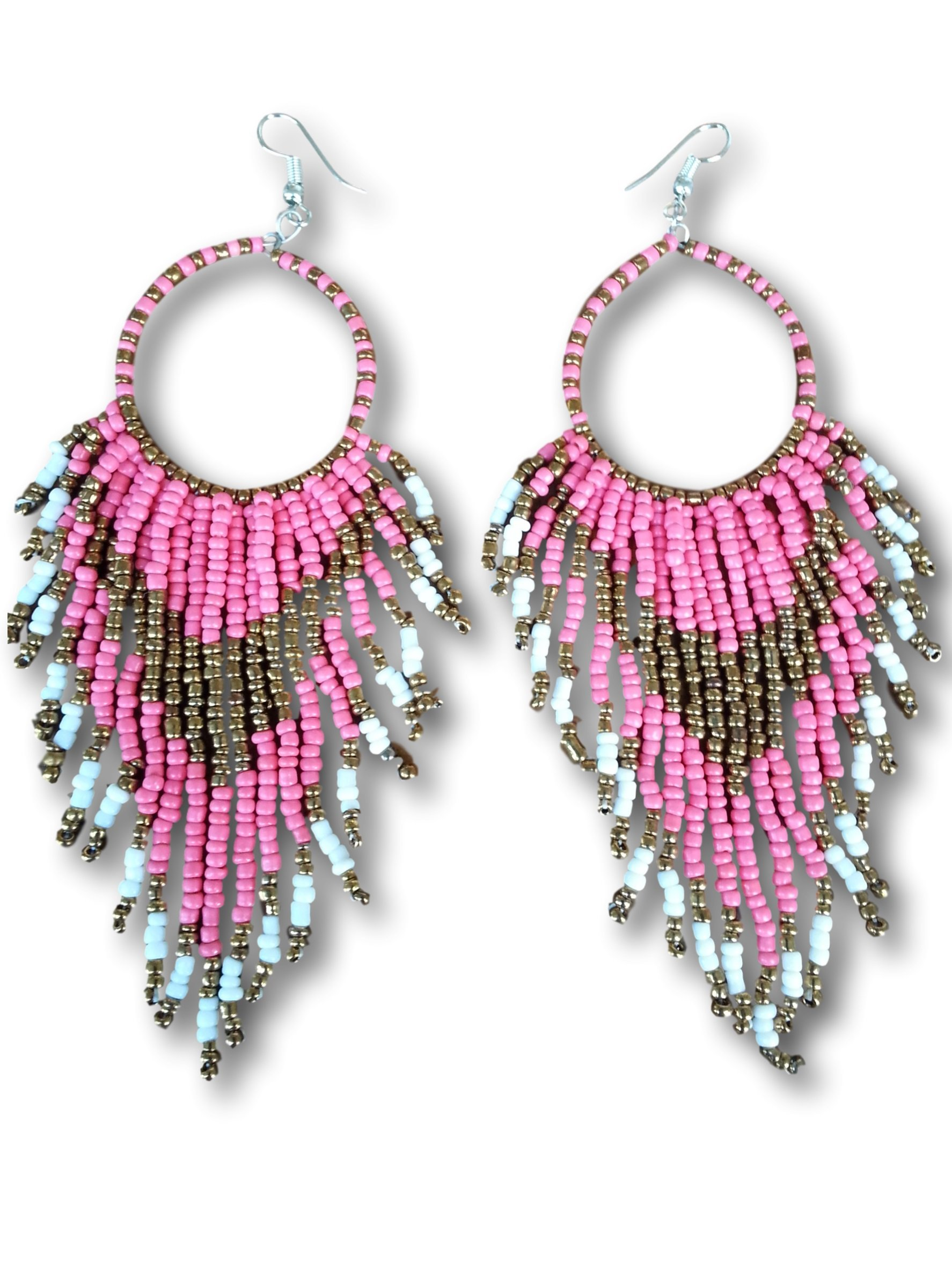 Tribal Dangle Fringe Tassel Bead & Hoop Earrings Native American Style by Pashal (Soft Pink)