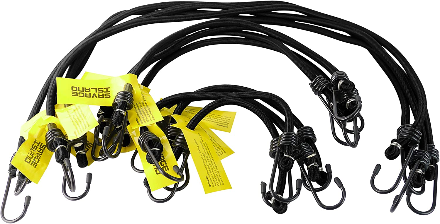 ELASTICATED LUGGAGE BUNGEE CORDS x 10 MILITARY BUNGEES ARMY BASHA STRAPS 8mm