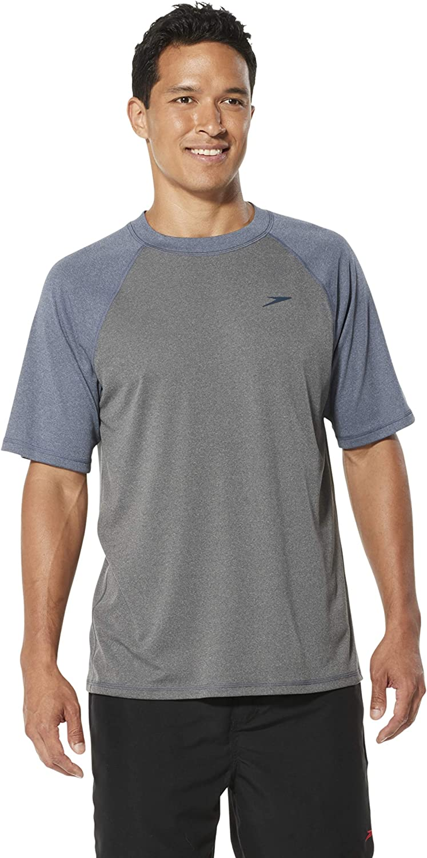 Manufacturer Discontinued Speedo Mens Uv Swim Shirt Short Sleeve Loose Fit Easy Tee