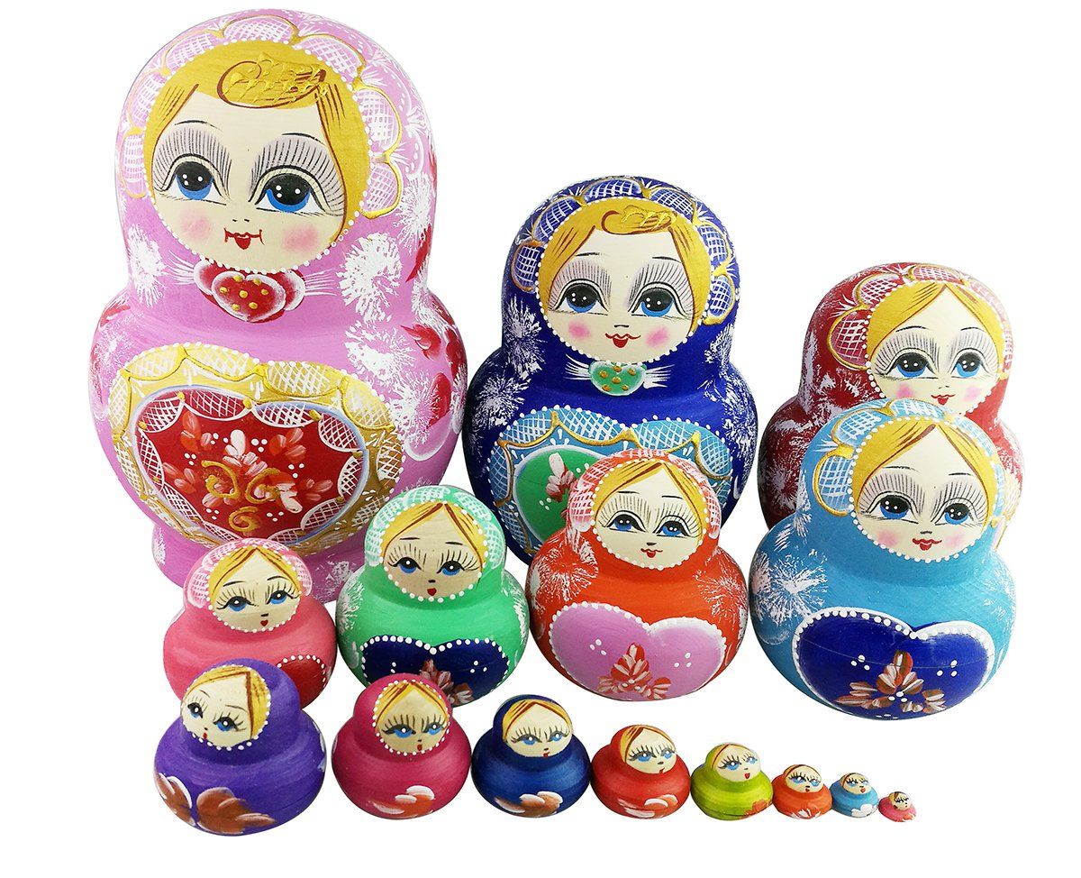 Set of 15 Big Bulky Heart Shape Pink Red Basswood Wooden Traditional Russian Nesting Dolls Matryoshka Kids Stacking Toys Christmas Birthday New Year Gifts Home Decoration