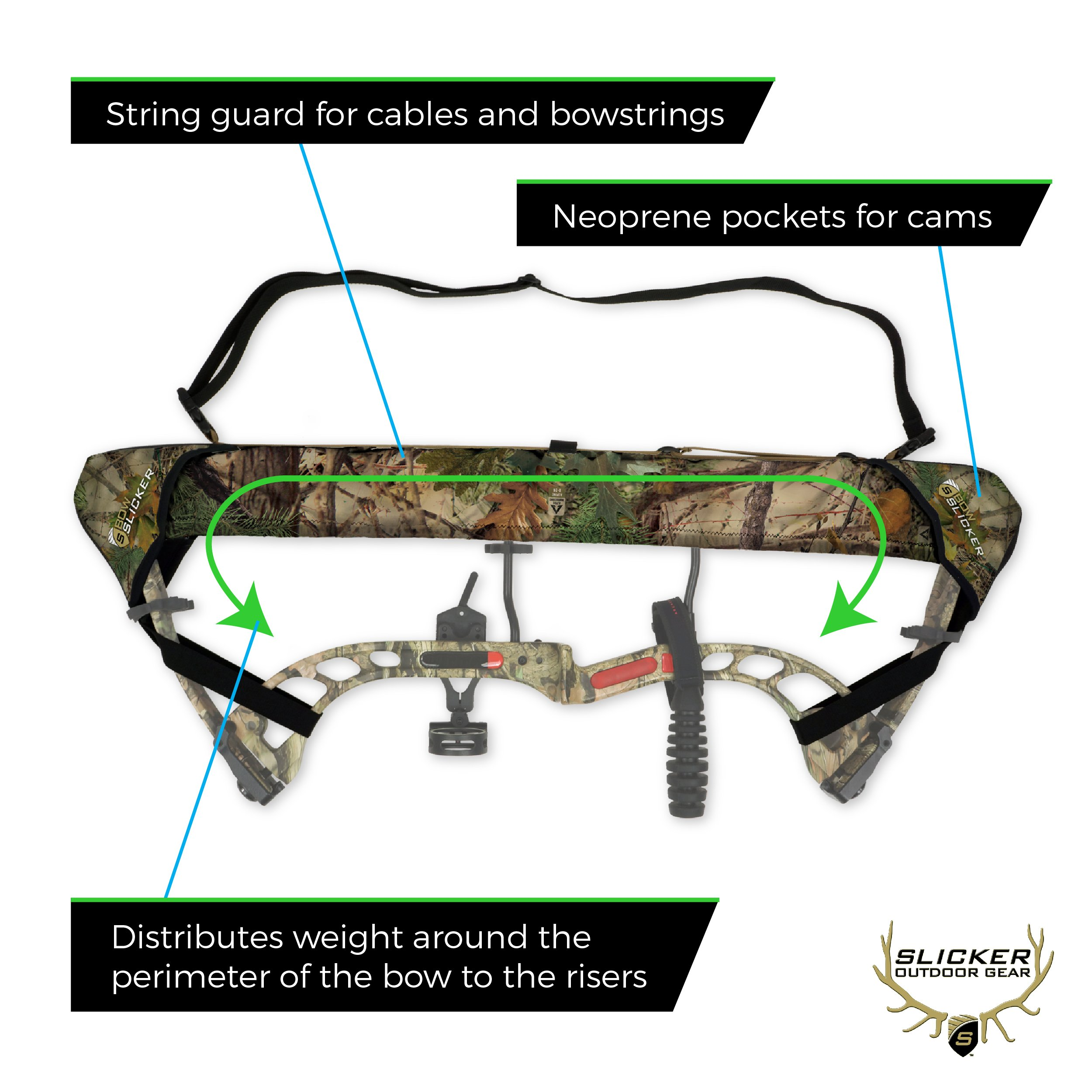 Slicker Weatherproof Bow Sling for Archery, Soft and Compact Bow Case for Hunting Gear Accessories, Cam and String Protector - Bow Dark Earth Tan (G54)