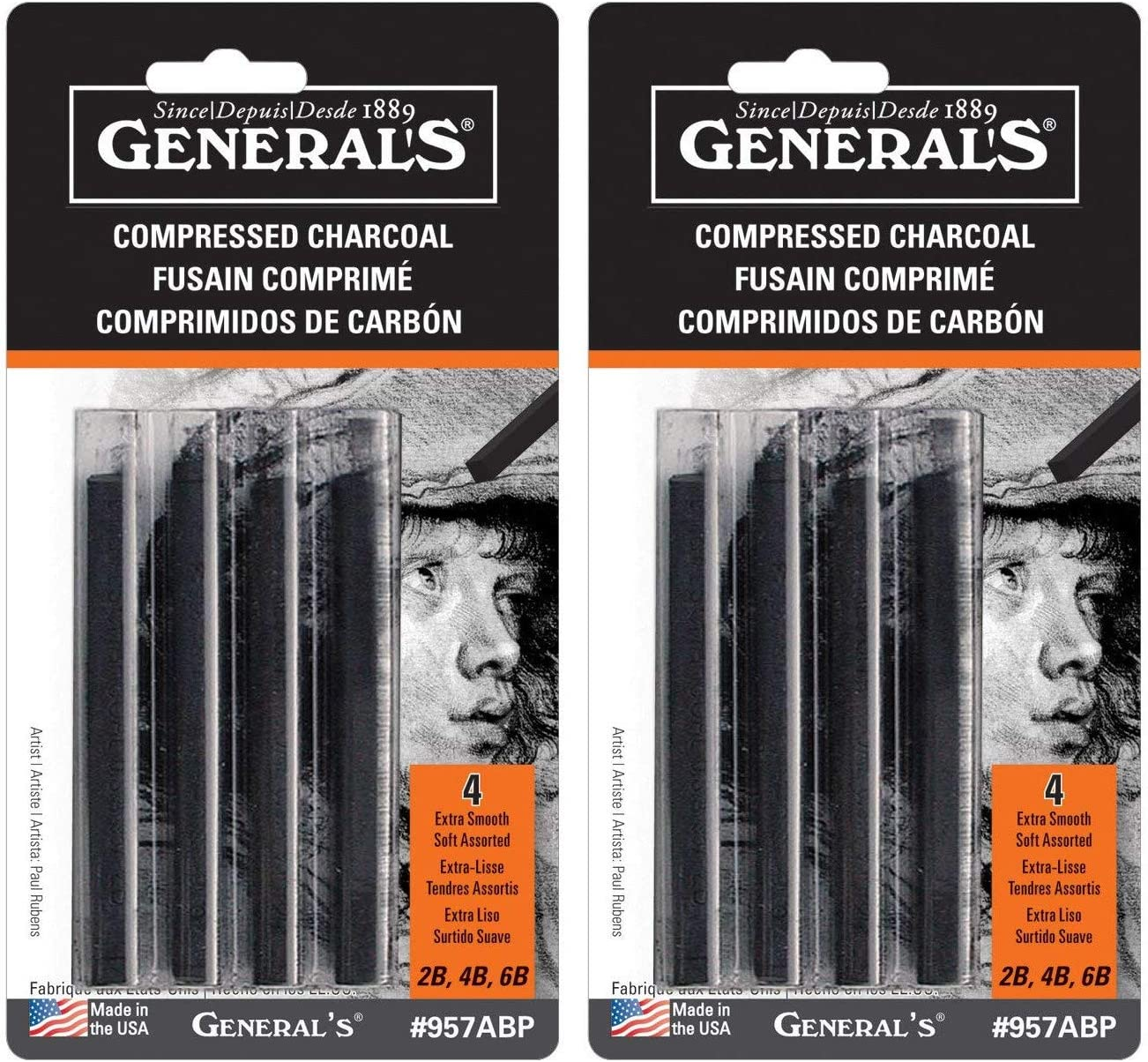 General/'s Compressed Charcoal Classroom Art Pack Assorted Tip Black and White,