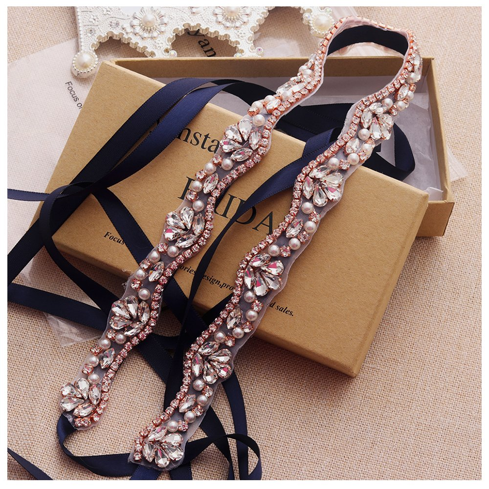 Yanstar Handmade Rhinestone belt Wedding Bridal Belt Sashes For Bridesmaid Dress WENXI