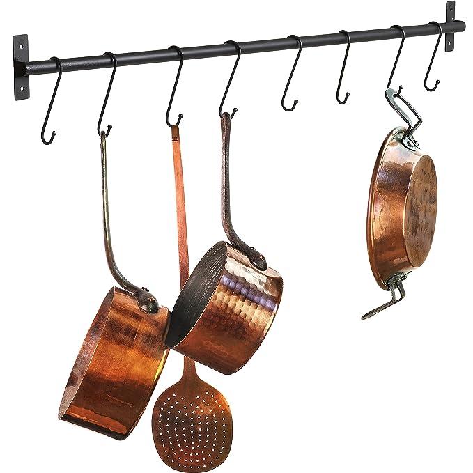 Moderno Metal montado en la pared organizador de almacenamiento de ollas y sartenes de cocina Gourmet con 8 gancho, negro: Amazon.es: Hogar