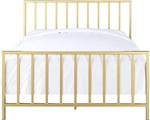 Pulaski Slat Style Metal Brushed Gold Bed, Queen,