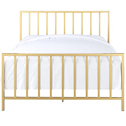Amazon.com: All-In-One Slat Style Brushed Gold Queen Metal Bed ...