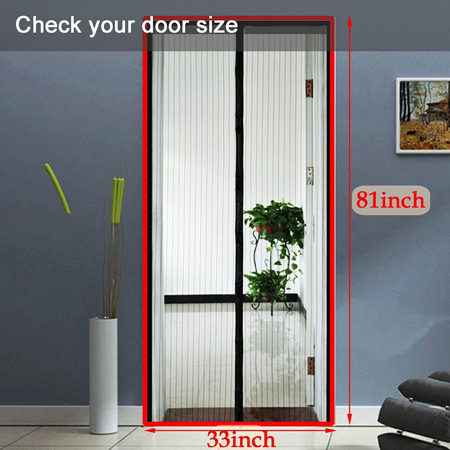 Homdox Magnetic Screen Door Retractable Heavy Duty Mesh Doors With