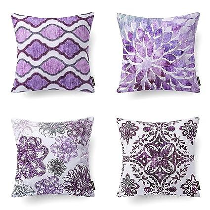 Sensational Phantoscope Set Of 4 New Living Series Decorative Dark Purple Throw Pillow Case Cushion Cover 18 X 18 45Cm X 45Cm Download Free Architecture Designs Saprecsunscenecom