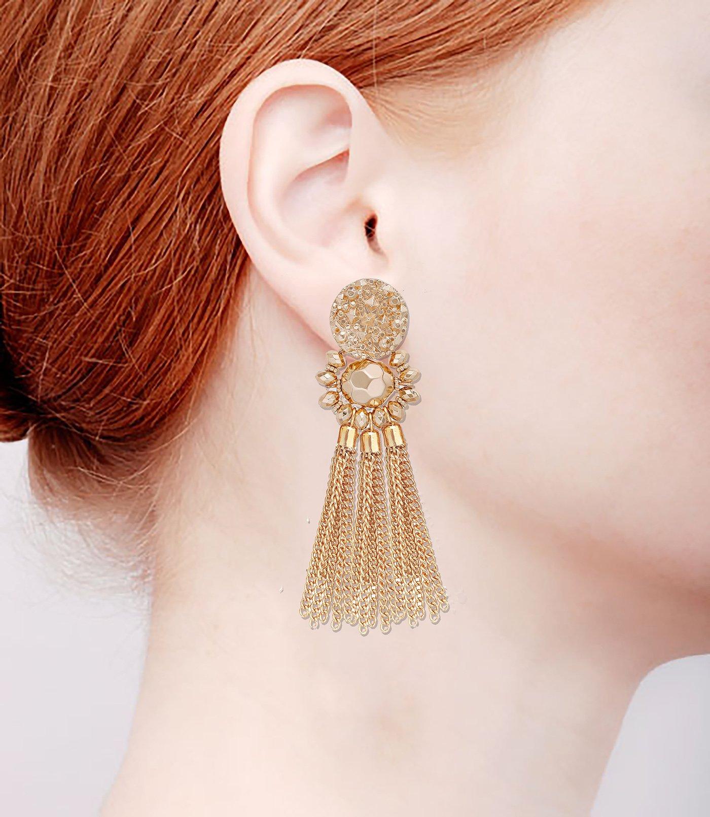 Bohemian Statement Tassel Chandelier Drop Dangle Earrings with Cassandra Button Stud (gold) by LPON (Image #7)