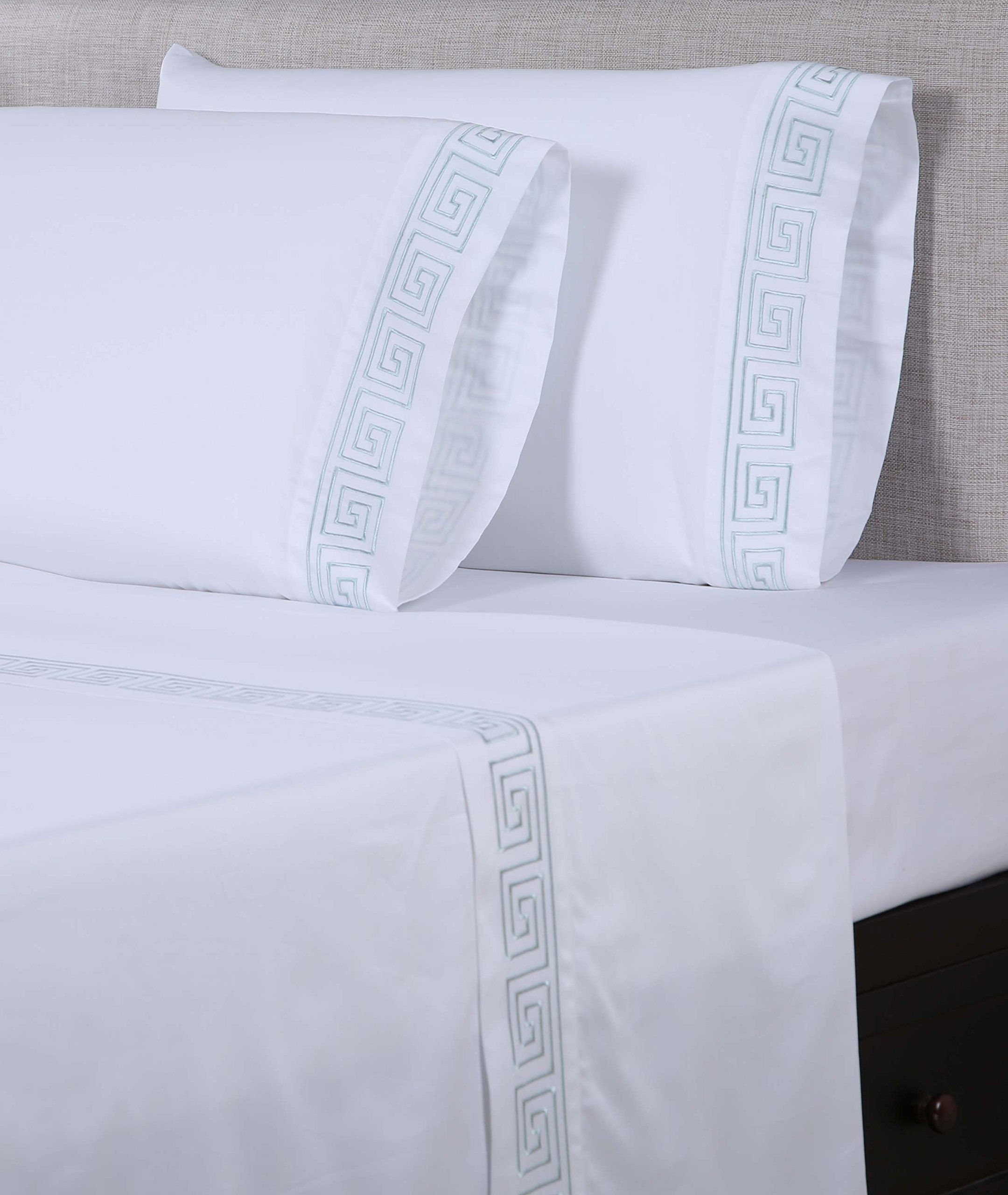 Affluence 600 Thread Count 100% Cotton Embroidered Sheet Sets - Greek Key Pattern (King Sheet Set, White/Spa Blue)