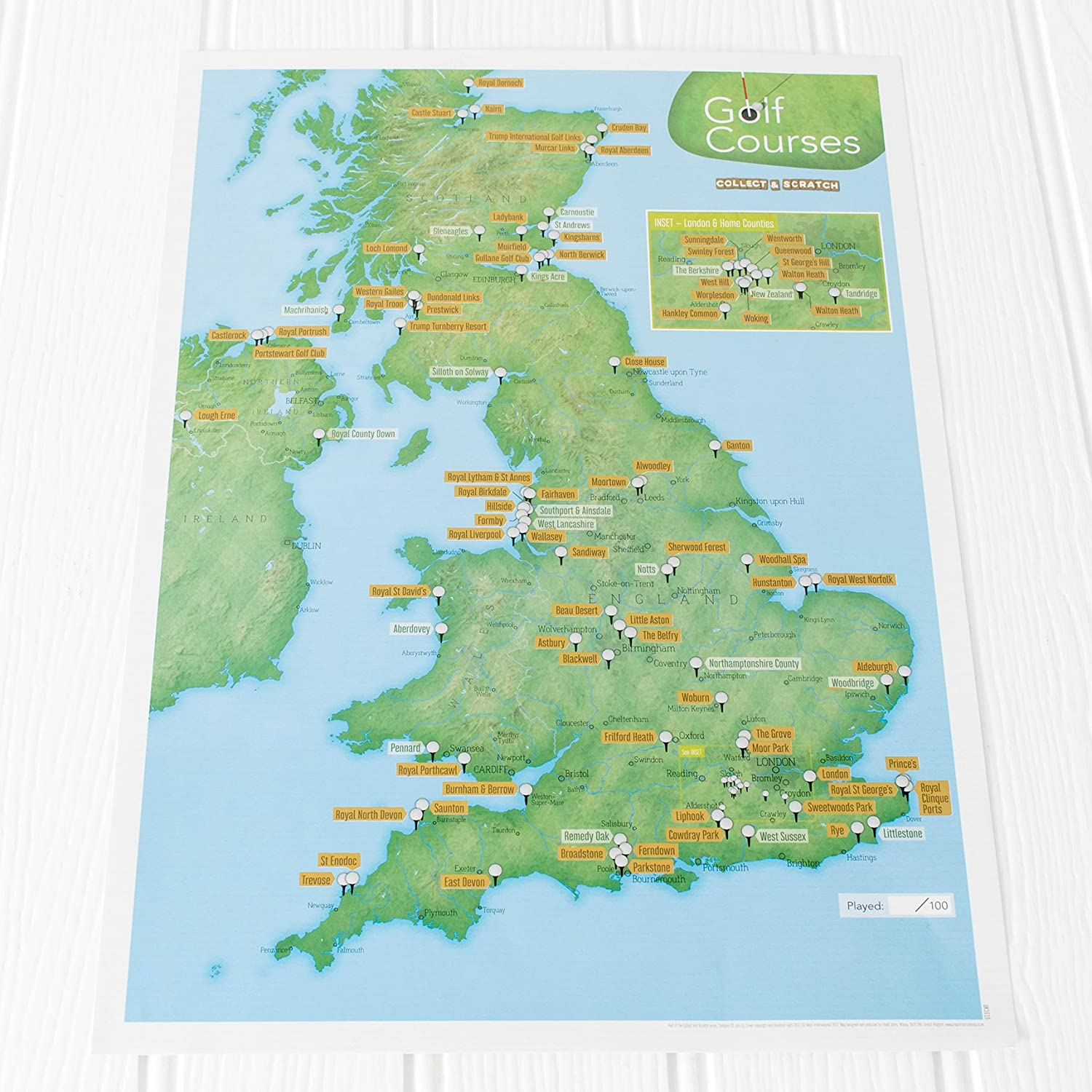Map Of Uk 1500.Uk Golf Courses Collect And Scratch Off Travel Map Great Gift For Golfers 29 X 42cm