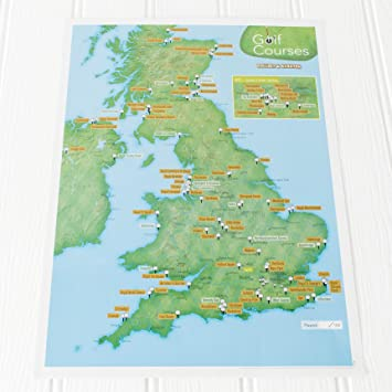 Map Of Uk For Printing.Uk Golf Courses Collect And Scratch Off Travel Map Great Gift For Golfers 29 X 42cm