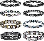 FIBO STEEL 8Pcs Hematite Bead Bracelets for Men Women 8mm Tiger