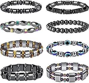 FIBO STEEL 8Pcs Hematite Bead Bracelets for Men Women 8mm Tiger Eye Stone Beads Bracelet Elastic Natural Magnetic Stone Bracelet Set