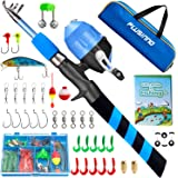 PLUSINNO Kids Fishing Pole, Portable Telescopic Fishing Rod and Reel Combo Kit - with Spincast Fishing Reel Tackle Box for Bo