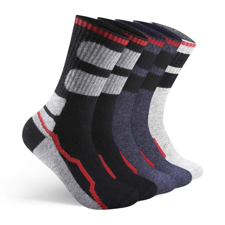 AIMKE 5 Pack Merino Wool Sock,Mens Athletic Sock Hiking Breathable Cushioned
