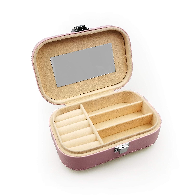 bc37637b36 sciuU Caja de Joyería con Espejo, Cofre Portátil en Cuero Sintético para  Joyas, Anillos